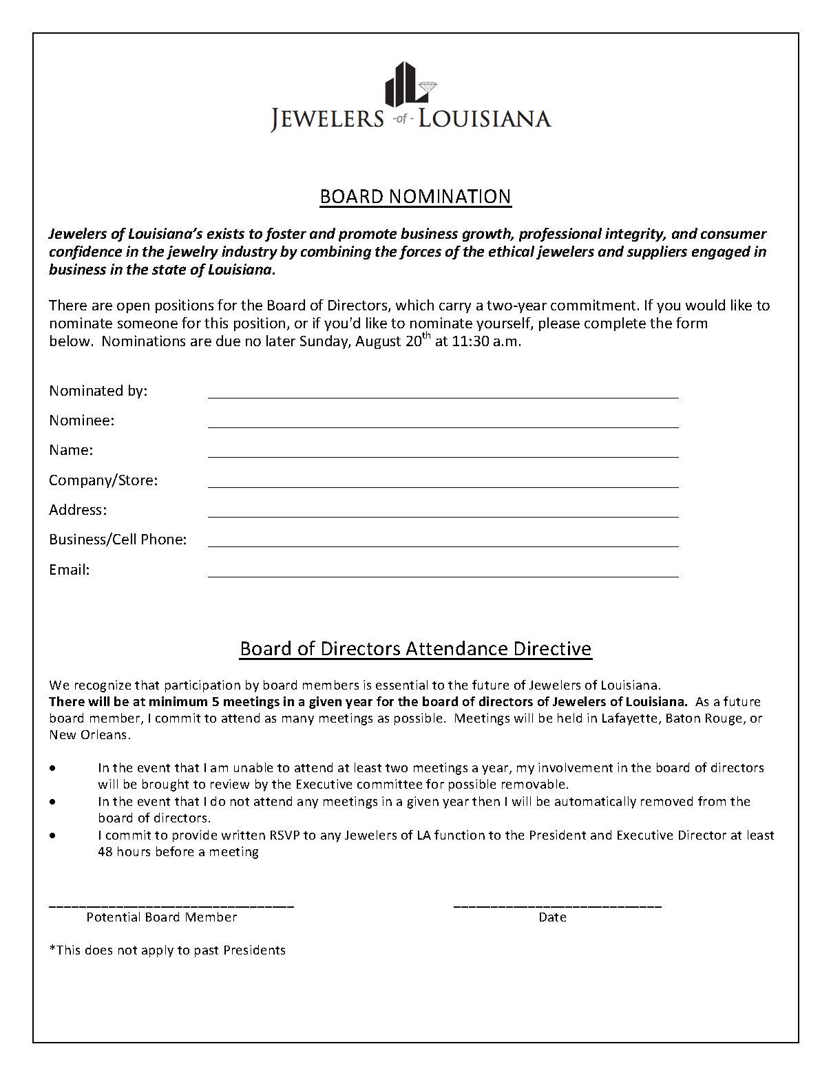 BOARD NOMINATION FORM AND POLICY