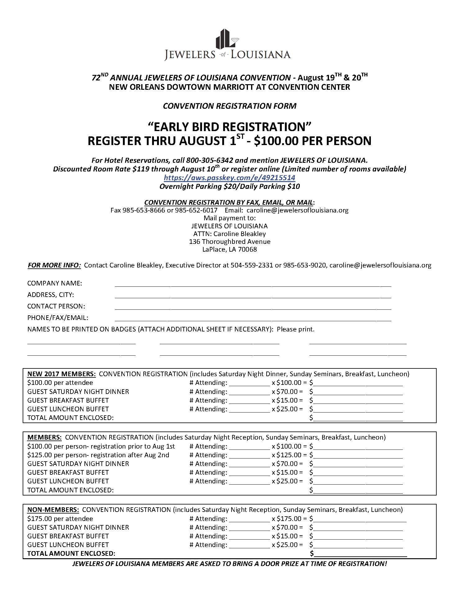 CONVENTION REGISTRATION FORM 2017