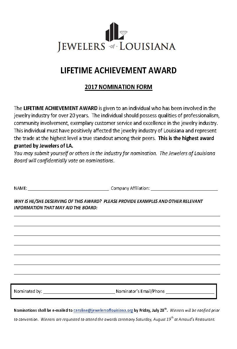 LIFETIME ACHIEVEMENT and JEWELERS OF LOUISIANA AWARDS Page 1