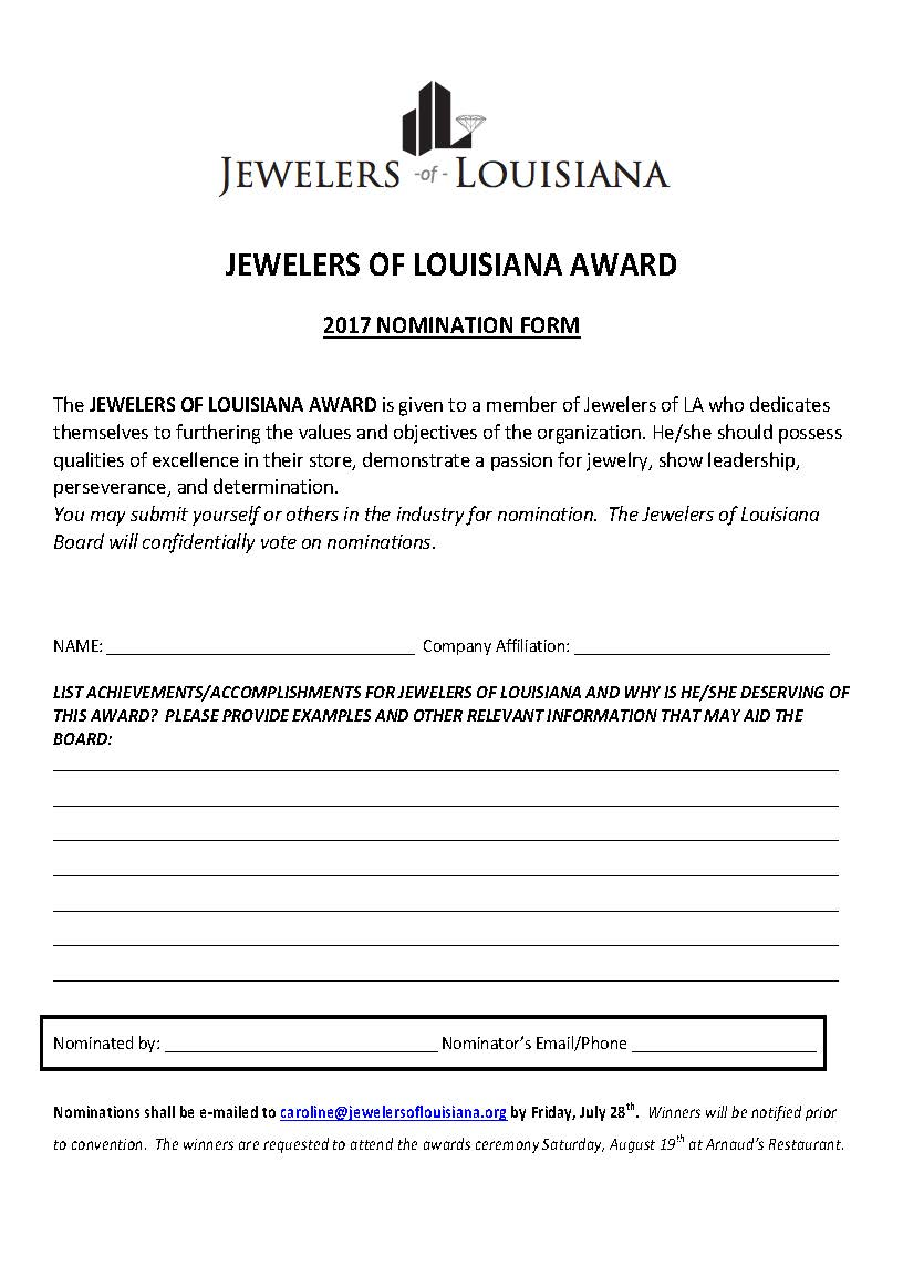 LIFETIME ACHIEVEMENT and JEWELERS OF LOUISIANA AWARDS Page 2